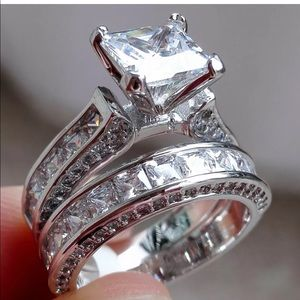 Bridal Wedding Ring Set White Sapphire size 9